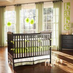 Organic Geometric Crib Bedding | Green and Gray Organic Cotton Crib Bedding | Carousel Designs #nursery #baby boy-crib-bedding