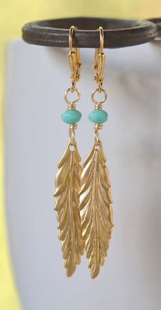 Gold Leaf and Turquoise Dangle Earrings. Everyday Earrings. Jewelry Gift. Gift…