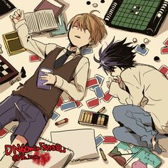 Anime Pictures Pixiv(550×550) Death Note L Lawliet Kira Light Yagami Black Hair Closed Eyes T-Shirt Brown Hair Open Mouth Sleeping Laying Down Vest Tie Books Coloring Books Crayons Cards Chess Sketch Book