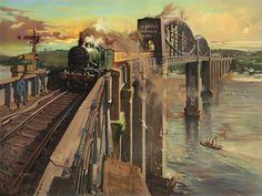PAINTING ROYAL ALBERT BRIDGE SALTASH BRITISH RAILWAYS FINE ART PRINT CC942   eBay