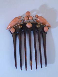ANTIQUE VICTORIAN CORAL DIAMOND HAIR COMB