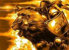 """Great visual.  In blind faith charge into the battle.   In the name of truth, righteousness, and justice..  The fire rages and the """"Lion of Judah"""" leads victoriously.  God is bringing order."""