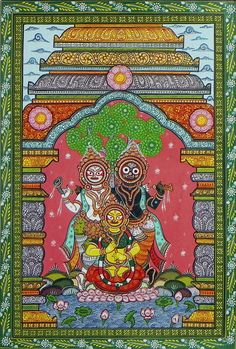 Jagannath, Balaram and Subhadra (Orissa Paata Painting on Canvas - Unframed)) Phad Painting, Worli Painting, Pottery Painting, Buddha Painting, Pichwai Paintings, Indian Art Paintings, Ancient Indian Art, Indian Folk Art, Indian Traditional Paintings
