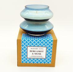#madameluna #lunac #designerglass #bergamot #musk #scentedcandles #gift #new Essential Oil Blends, Essential Oils, Paraffin Wax, Bergamot, Candle Making, Scented Candles, Perfume Bottles, Fragrance, Glass