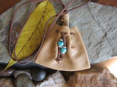 Native american Tan leather / suede  draw string by graywolfnation, $25.00