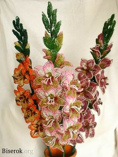 Oh, my goodness! Beaded gladiolas! The instructions are clear. The time it takes to make them....?!!!