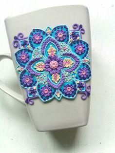 Mandala polymer clay mug