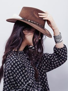 'ale by Alessandra Roxy Dene Distressed Felt Hat at Free People Clothing Boutique