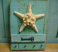 Starfish Key Holder Turquoise Skeleton Key Rack by CastawaysHall
