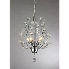 This is a stunning chrome-finished chandelier with leaf-life crystals and stylish metal branches. This will give your home a unique and sophisticated look at a very affordable price, while not sacrificing on quality.