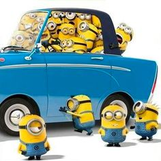 Many Many Minions jamming to one tiny blue car - Despicable Me 2 movie Minion Rock, My Minion, Minion Movie, Image Minions, Minions Images, Emoji Images, Minion Photos, Yellow Guy, Yellow Minion