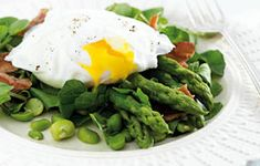 Asparagus Salad with Poached Egg and Bacon