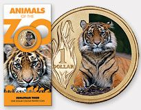 An imposing 1-dollar coin from Australia with a Sumatran tiger on the reverse is part of the Australian Mint's Animals of the Zoo series.  (World coins, foreign coins)