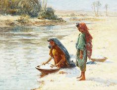 Algérie - Peintre Français  Alexis Auguste Delahogue(1867-1950),Huile sur toile ,Titre : Les lavandieres
