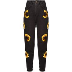 Dalood Sunflower Embroidered Denim Jeans ($675) ❤ liked on Polyvore featuring jeans, black, straight leg jeans, embroidered jeans and embroidery jeans