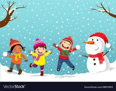 Winter fun happy children playing in the snow Vector Image I Love Winter, Winter Fun, Art Drawings For Kids, Drawing For Kids, Winter Clip Art Free, Christmas Art For Kids, Snow Vector, Baby In Snow, Baby Snowsuit