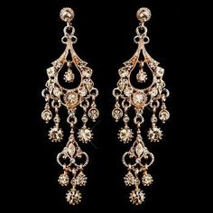 "Rose Gold Chandelier Wedding and Prom Earrings - over 3"" long!"