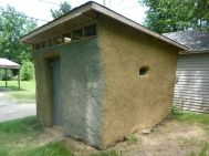 Straw bale shed- less than two weeks, with sunroof and high windows