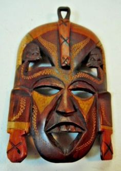 Carved-Wooden-African-Mask-Multi-Color-Face-Shades-of-Brown-Africa-Decor