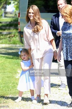 Princess Leonore of Sweden and her mother Princess Madeleine of Sweden are seen visiting the stables on June 3, 2016 in Gotland, Sweden. Duchess Leonore will meet her horse Haidi of Gotland for the first time.  (Photo by Luca Teuchmann/Getty Images)
