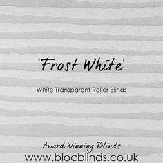 White roller blinds; made to measure and available online. Bloc Blinds' award winning blinds. Order Free Swatches Today. www.blocblinds.co.uk