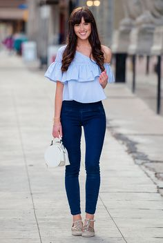 summer outfit, casual outfit, comfy outfit, street style - pale blue off the shoulder top, skinny jeans, gold espadrilles, white handbag