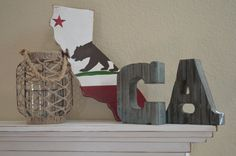 State of California Flag Rustic. Super cute. Could do for all states lived in, or could make small versions for all states and make a US map.