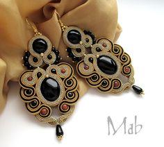 Black and Tan Soutache with Black Beads Earrings Ribbon Jewelry, Bead Embroidery Jewelry, Boho Jewelry, Jewelry Crafts, Beaded Jewelry, Handmade Jewelry, Jewellery, Soutache Necklace, Macrame Earrings