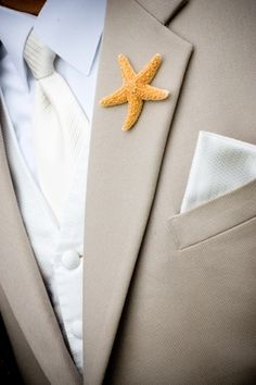 Starfish Boutonieres- perfect for a beach wedding!