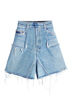 Would You Wear This Bold New Denim Style? #refinery29  http://www.refinery29.com/ksenia-schnaider-demi-denim-jeans-trend#slide-3  Ksenia Schnaider Fringed Denim Shorts, $329, available at Stylebop....