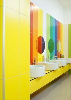 Image 9 of 21 from gallery of FCA Srbija Kindergarten / IDEST Doo. Photograph by Jelena Arsenijević Kindergarten Interior, Kindergarten Design, School Bathroom, Bathroom Kids, Hall Bathroom, Daycare Design, School Design, Design Maternelle, Ecole Design