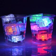 Pack) Multi Color Flash LED Ice Cube Water-Activated Flashing Blinking Glowing Light up Ice Cubes by QUMAX - for Party Wedding Bars Christmas Led Ice Cubes, Light Up, Pack Light, Fete Halloween, Ale, Fiesta Ideas, Party, Blue Green, Language