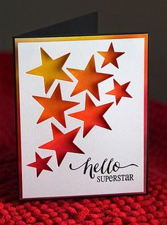 Stamps: Hand Lettered Hello (Wplus9), Great Expectations (Verve) Ink: Mustard Seed, Spiced Marmalade, Ripe Persimmon, Barn Door, and Fired Brick (Ranger Distress), Black Onyx (Versafine) Paper: White, Black Accessories, etc.: Star die (PTI), Star Punch (Stampin' Up!), Blending Tool (Ranger) -Bloglovin'