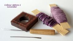Paul Thomas, owner of Plane n' Grain, not only makes very cool jewelry but he also makes weaving looms & shuttles, viking knit draw plates and pliers stands. Here is his micro loom starter kit, $32.00.