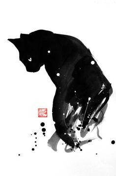 """Spot Cat"" by Pechane Sumie. Black Cat Art, Black Cats, Black Cat Drawing, Black Cat Painting, Sumi E Painting, Black Cat Tattoos, Spotted Cat, Art Asiatique, Watercolor Cat"
