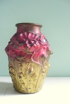 Vintage Antique Goofus Glass 1920s Painted Glass Vase Floral Motif Red Maroon and Gold Ombre Effect
