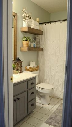Beautiful farmhouse shower ideas or vintage bathroom remodel on a budget 3 idea curtain amazing and Bathroom Mirror Makeover, Diy Bathroom Remodel, Diy Bathroom Decor, Bathroom Colors, Bathroom Renovations, Bathroom Ideas, Budget Bathroom, Bathroom Makeovers, Cabinet Makeover