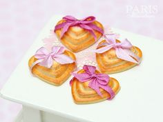 Three Heart Shaped Cookies Decorated with Pink Bow (Choice of Light or Dark Pink) - Tiny Miniature Food in 12th Scale for Dollhouse