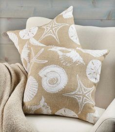 For the beach house! Shell and Starfish Burlap Pillow.