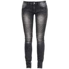 Jeans von R.E.D. by EMP:  - Stonewash - Skinny Fit - rautenförmig abgesteppte Details - Teilungsnähte im Kniebereich - verdeckter Reißverschluss - 5-Pocket-Style