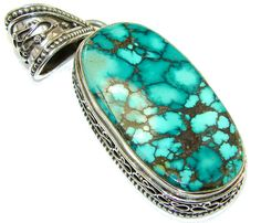 $91.25 Big!China Mountain Spiderweb, A-Grade Blue/Green!! Turquoise Sterling Silver Pendant at www.SilverRushStyle.com #pendant #handmade #jewelry #silver #turquoise