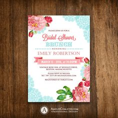 Printable Bridal Shower / Tea Party Invitation, Bridal Brunch Invite Shabby Chic Teal & Pink Rose Shower the Bride Editable INSTANT DownLoad