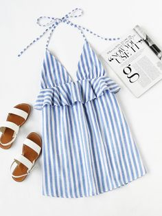 SheIn offers Halter Neck Vertical Striped Frill Trim Dress & more to fit your fashionable needs. Fashion Mode, Look Fashion, Fashion Outfits, Womens Fashion, Funky Fashion, Fashion Black, Dress Fashion, Fashion Clothes, Fashion Ideas