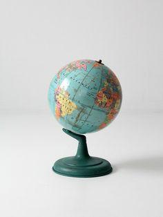 mid century world globe / Nystrom 12 inch Readiness globe - 86 Vintage