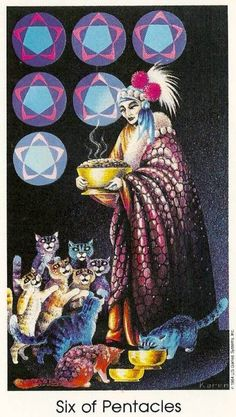 Six of Pentacles: Tarot Card meaning: Present: Your fervour for life and faith in your own talents will be renewed. The joy of being able to help someone in need will illuminate the bigger picture.