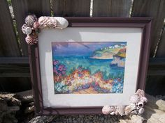 Hand Painted Beach Violet Purple Frame with all natural Sea Shells, Barnacles, and other Sea Treasures - product images  of