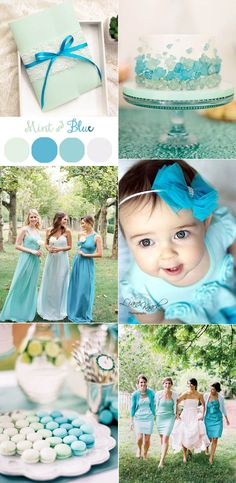 mint and blue wedding colors and invitations