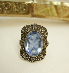 Vintage Art Deco Ring Marcasites and london by vintagesparkles, $145.00