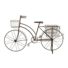 Features:  -Material: Pure iron.  -Includes three wired planter basket.  -Tarnished bicycle.  Material: -Metal.  Distressed: -Yes.  Color: -Brown.  Shape: -Novelty. Dimensions:  Overall Height - Top t