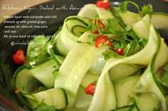 Believe it or not. this beautiful salad requires no special equipment!  What a delightfully refreshing and delicious way to celebrate cucumbers!